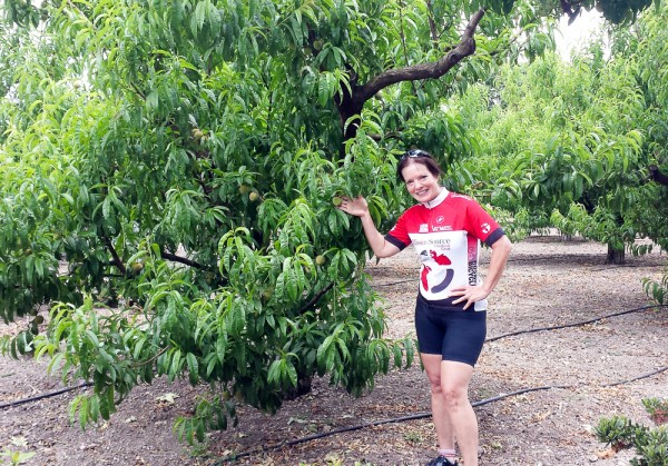 Cathy models a peach tree at Buttonwood.